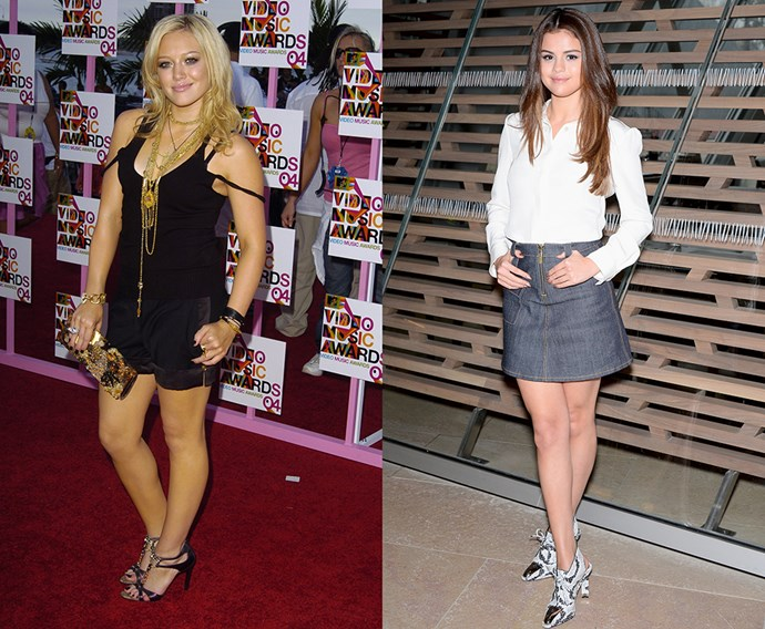 <p><strong>Hilary Duff / Selena Gomez</strong><p> Both every inch the teen dream queen, Selena and Hillary started as child stars (Hilary on <em>Lizzie McGuire</em>, Selena on <em>Wizards of Waverly Place</em>) and transitioned into the triple-threat stars of their days. Killer style included.