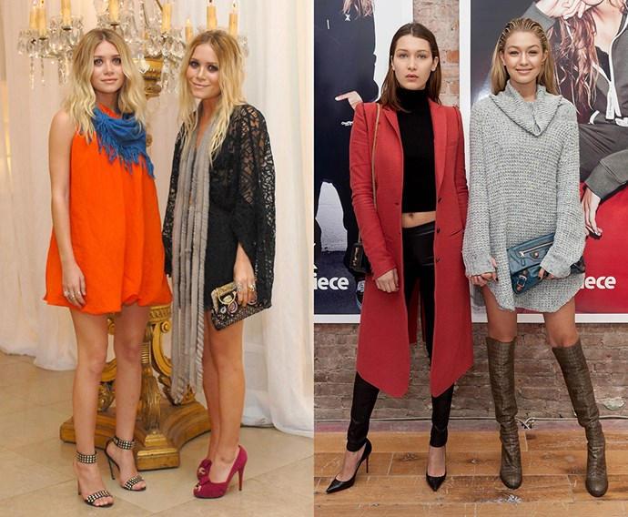 <p><strong>Mary-Kate and Ashley Olsen / Gigi and Bella Hadid</strong><p> Although there was no shortage of celebrity sisters back in the day, we think Gigi and Bella are a perfect match for Mary-Kate and Ashley Olsen, who were the It fashion sisters of their time. Modelling, designing and two sets of similar but distinct styles? We see it.