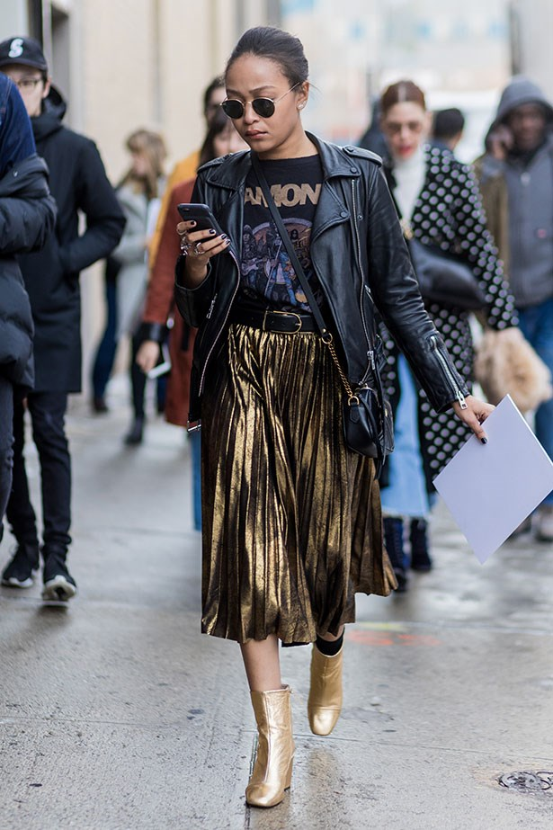 <strong>4. The Statement Midi-Skirt</strong> <br></br> Swap out for a leather jacket and metallic boots for a night on the town.