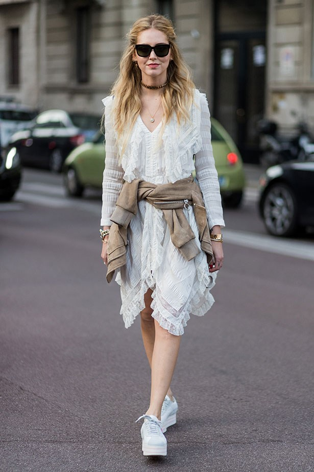 <strong>5. The Lace Dress</strong> <br></br> Team with sneakers and a tied up jacket for cute casual.