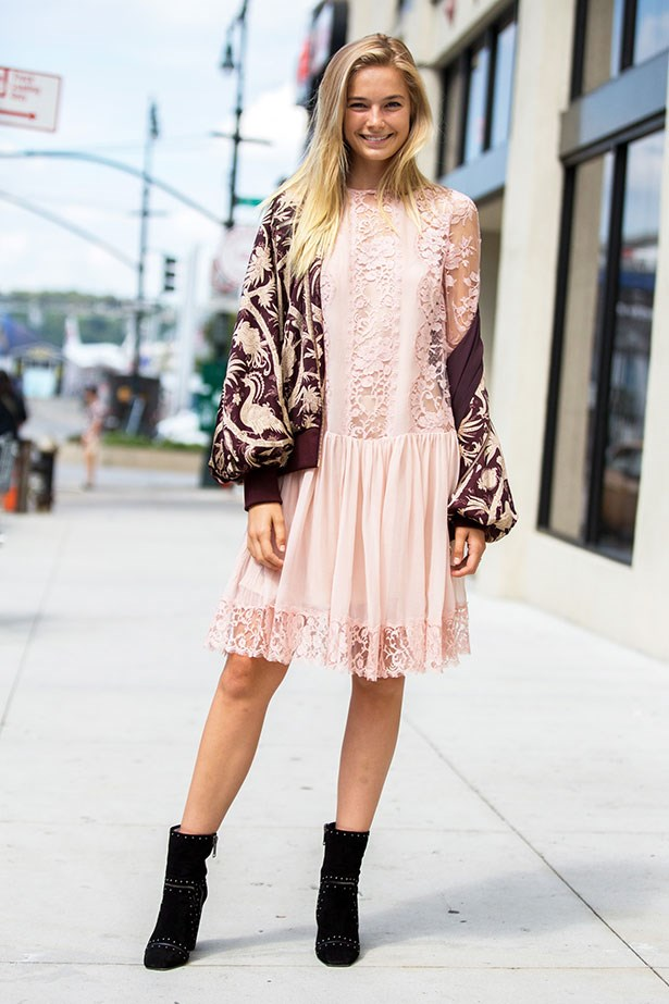 <strong>5. The Lace Dress</strong> <br></br> Elevate with a fancy bomber and moody black boots.