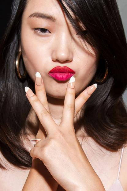 """<p><strong>Cushnie Et Ochs</strong> <br><br> <p>Manicurist Alicia Torello created a manicure that """"was minimal yet high impact"""" on a sharp, stiletto shape."""