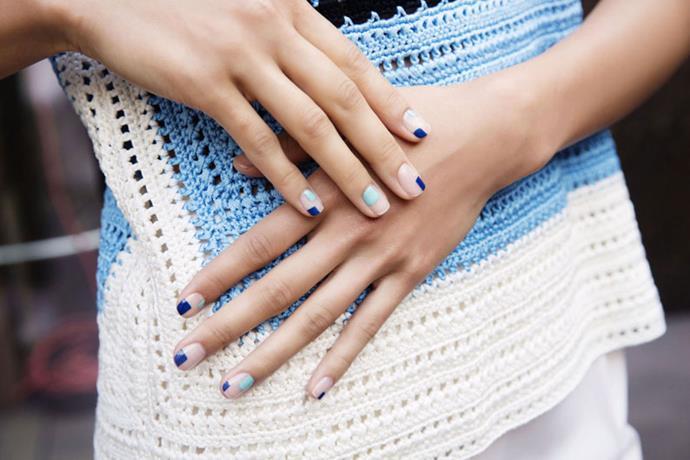 "<p><strong>Novis</strong> <br><br> <p>Nail artist <a href=""https://www.instagram.com/aliciatnails/?hl=en"">Alicia Torello</a> created ""cheekily minimal cubist nail art."""