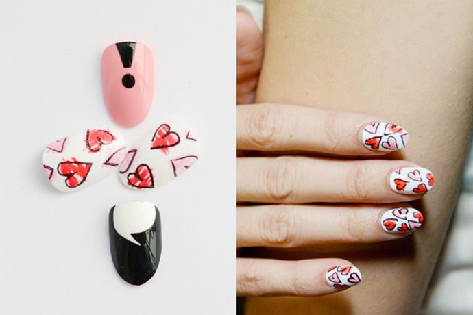 """<p><strong>Betty and Veronica by Rachel Antonoff</strong> <br><br> <p><a href=""""http://misspopnails.com/"""">Miss Pop Nails</a> created a design of """"fluttering hearts"""" made with <a href=""""http://chinaglaze.com/"""">China Glaze</a>. """"That black outline is sharpie. True story."""""""