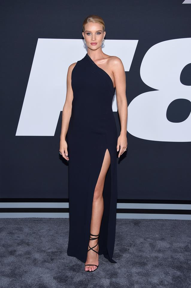 Huntington-Whiteley attended the premiere of Universal Pictures' 'The Fate Of The Furious' wearing an elegant navy one-shoulder gown and Nirav Modi jewellery.