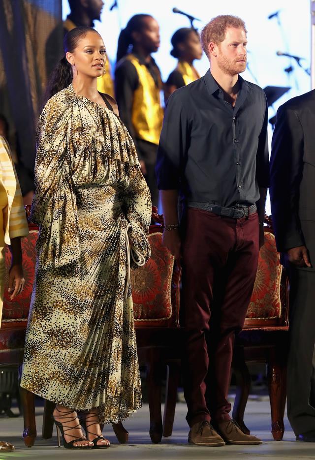 <p>Rihanna meeting Prince Harry in 2017.