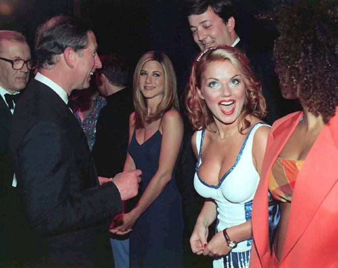 <p>Jennifer Aniston and Geri Halliwell meeting Prince Charles in 1997.