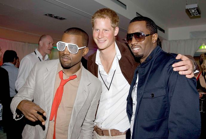 <p>Kanye West and P Diddy meeting Prince Harry in 2007.