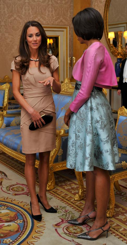 <p>Michelle Obama meeting Kate Middleton in 2011.