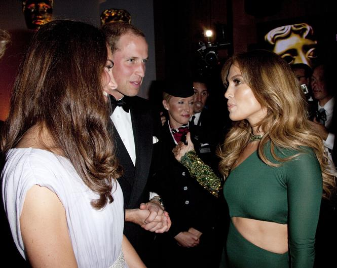 <p>Jennifer Lopez meeting Kate Middleton and Prince William in 2011.
