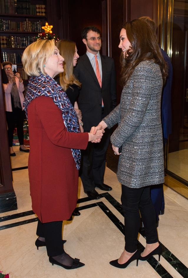 <p>Hillary Clinton meeting Kate Middleton in 2014.