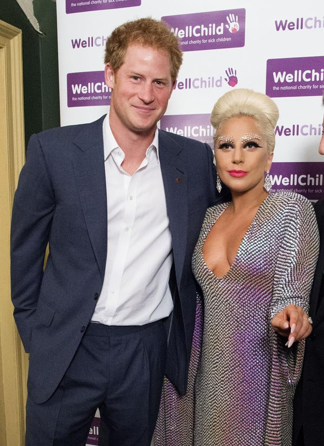 <p>Lady Gaga meeting Prince Harry in 2015.