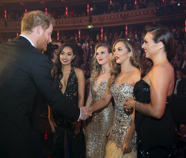 <p>Little Mix meeting Prince Harry in 2015.