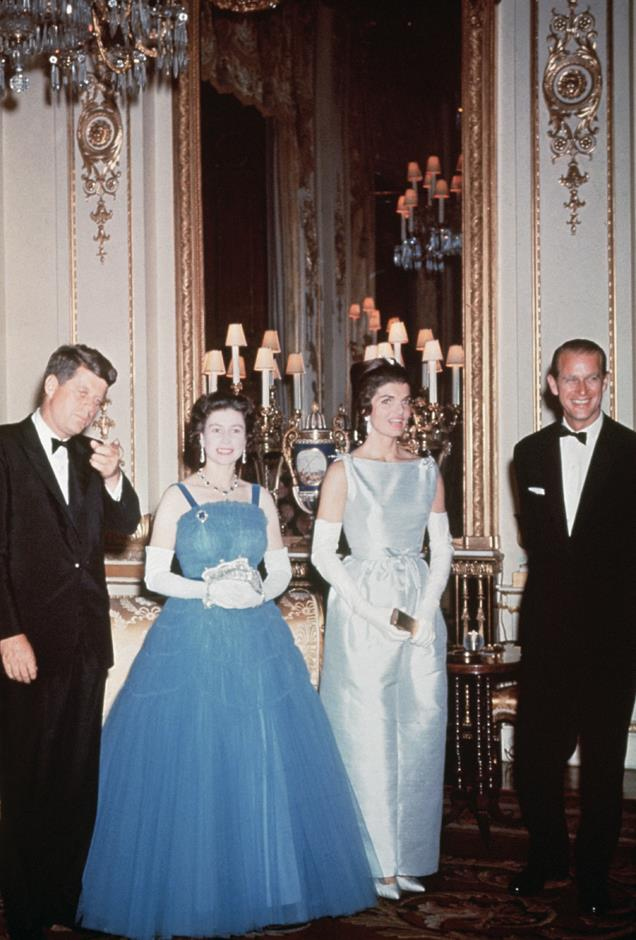 <p>John F. and Jackie Kennedy meeting Queen Elizabeth and Prince Philip.