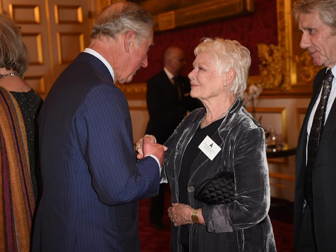 <p>Judy Dench meeting Prince Charles in 2016.