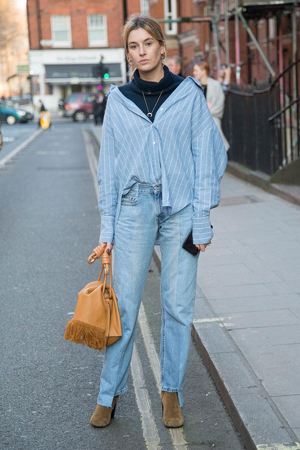 2. Unbutton And Layer A Boyish Shirt Over A Colour-Block Jumper