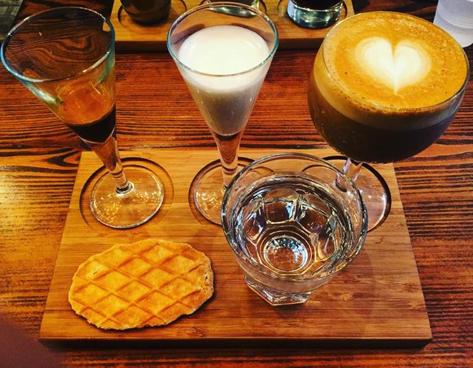 """<p><strong>A deconstructed coffee</strong> <p>Because getting a barista to make your coffee is <em>so</em> 2016... A deconstructed coffee is beans, milk (or mylk) served as individual elements to be consumed as one. <p> <em>Image: <a href=""""https://www.instagram.com/p/BP9ZuBChtZz/?tagged=deconstructedcoffee"""">aabrohi</a></em>"""