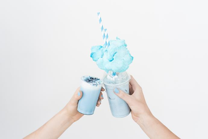 """<p><strong>Blue Algae Latte</strong> <p>A brightly coloured alternative to your normal coffee, the blue algae latte is made from steamed coconut milk and E3 Live (aka blue algae), an edible freshwater plant and superfood. Find out where to get your hands on this new type of latte <a href=""""https://au.topshop.com/blog/latest-latte-trend-try-now-topshop-sydney-cbd/"""">here.</a><p> <em>Image: Topshop</em>"""