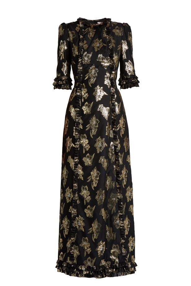 "<strong>Formal Attire: Floor length is the order of the day and, while black is normally a no-go, a metallic motif and corresponding accessories makes almost any evening ensemble wedding appropriate.</strong> <br><br> Dress, $1,987, The Vampire's Wife at <a href=""http://www.matchesfashion.com/au/products/The-Vampire%27s-Wife-Cate-floral-fil-coup%C3%A9-gown-1155277"">Matches Fashion</a>"
