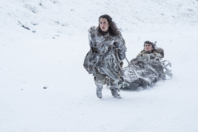 """<p>Meera Reed and Bran Stark.<p> <em>Image via <a href=""""http://www.makinggameofthrones.com/production-diary/get-look-exclusive-photos-game-of-thrones-season-7"""">HBO</a></em>."""