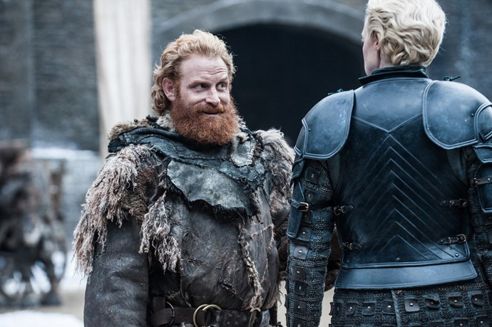 """<p>Tormund Giantsbane and Brienne of Tarth.<p> <em>Image via <a href=""""http://www.makinggameofthrones.com/production-diary/get-look-exclusive-photos-game-of-thrones-season-7"""">HBO</a></em>."""