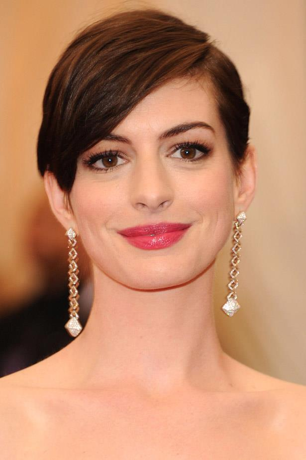 <strong>Anne Hathaway</strong> <br><br> When we watched Anne Hathaway shave off her own hair for real in <em>Les Miserable</em>s we weren't so sure about the tufty finish. One sleek transformation later and Anne's crop is red-carpet ready.
