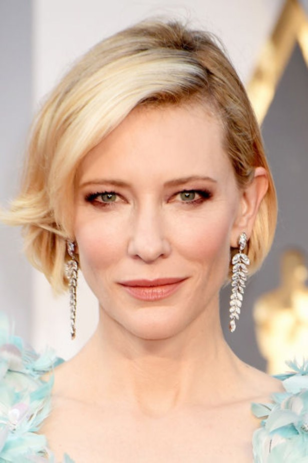 <strong>Cate Blanchett</strong> <br><br> Short, sleek and curled under, Cate Blanchett's bob is chic AF.