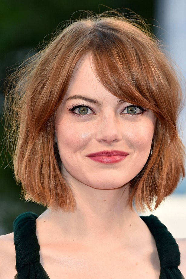 <strong>Emma Stone</strong> <br><br> The red carpet tousled bob of our dreams. This is the way to work a fringe with a bob, people.