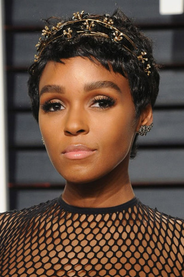 <strong>Janelle Monae</strong> <br><br> Proving there's a million different ways to wear a pixie crop, Janelle Monae's bejewelled headband gives short hair an evening update.