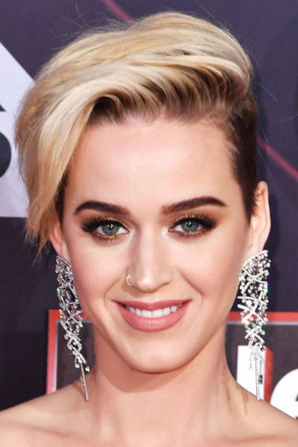 <strong>Katy Perry</strong> <br><br> Short brunette sides meets a platinum blonde ice-cream top for Katy Perry's latest foray into short hair.