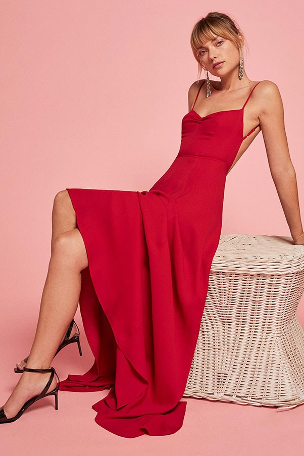 """'Thistle' dress, approx. $515 at <a href=""""https://www.thereformation.com/products/thistle-dress-cherry"""">Reformation</a>"""