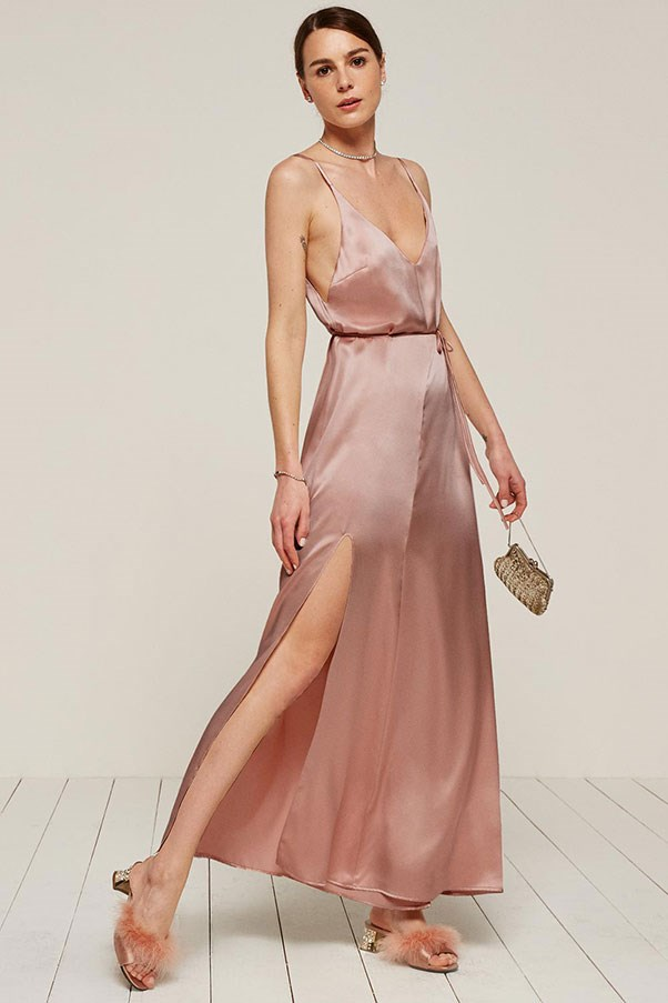 """'West' dress, approx. $370 at <a href=""""https://www.thereformation.com/products/west-dress-blush"""">Reformation</a>"""