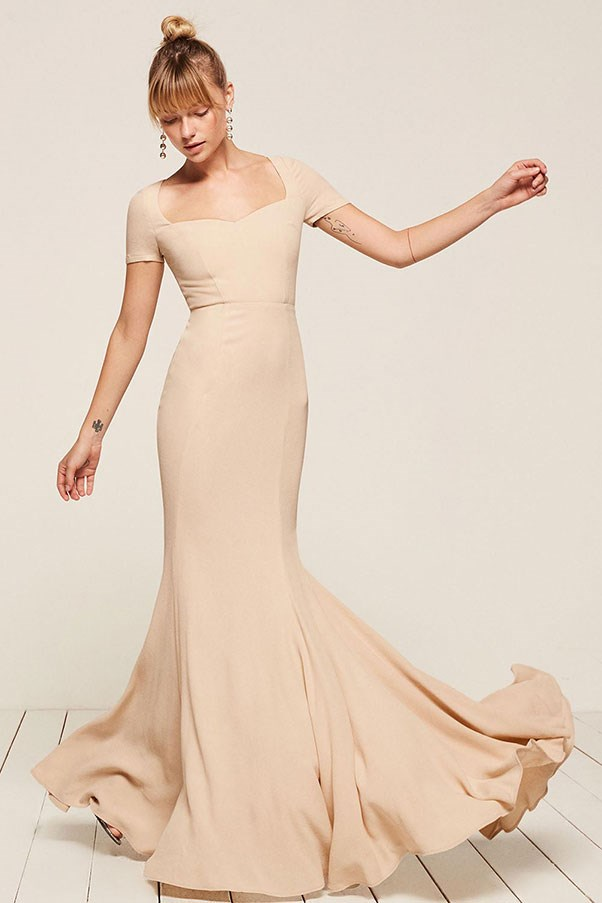 """'Topaz' dress, approx. $515 at <a href=""""https://www.thereformation.com/products/topaz-dress-pearl"""">Reformation</a>"""