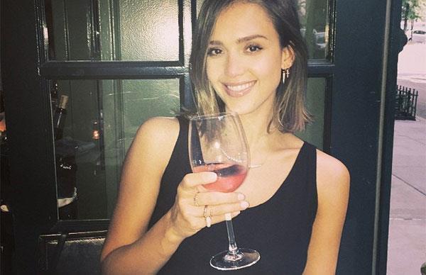Jessica Alba drinking rose