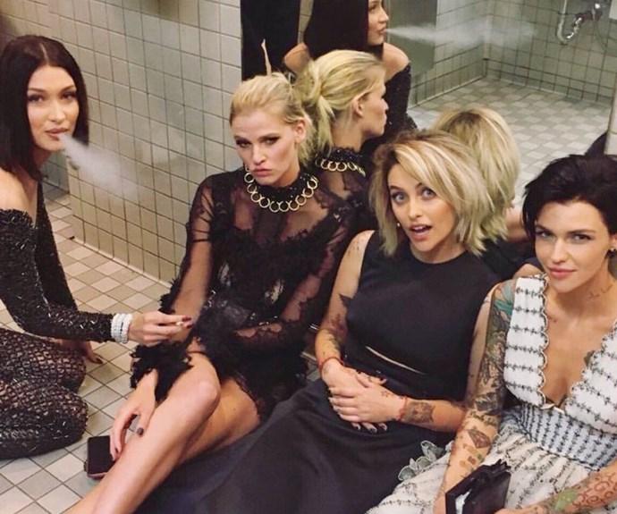 Met Gala Party in the Bathroom