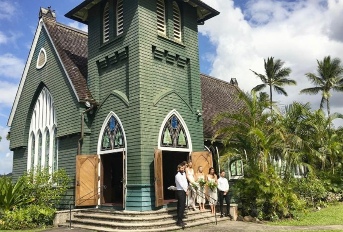 """Newly married Margot Robbie played bridesmaid at a friend's wedding earlier this week. The star uploaded this picture to Instagram with the caption, """"Going to the chapel... J❤N."""" While we don't know who the bride and groom are, it appears the wedding took place at a church in Hanalei, Hawaii."""