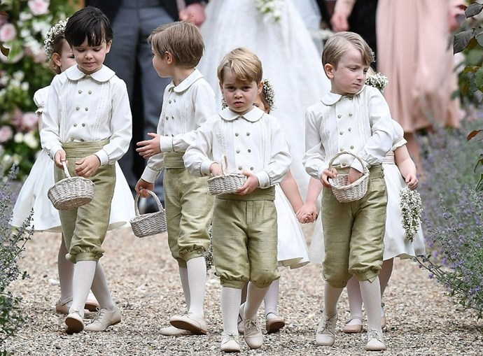 **Prince George leading the Page boy pack**<br> Prince George looks all grown up walking with his friends post-ceremony.