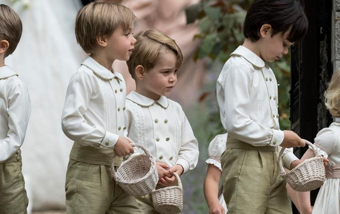 **Prince George hanging out with his fellow page boys**<br> The (mostly) well behaved set patiently awaited their walk down the aisle.