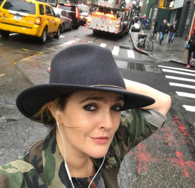 **Drew Barrymore**<br><br> A little rain isn't going to keep Drew Barrymore from the streets of New York.