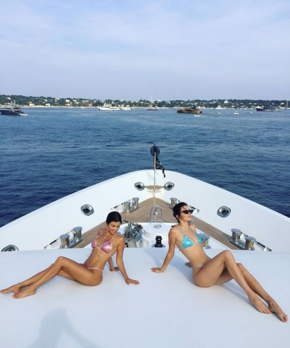**Kourtney Kardashian and Kendall Jenner**<br><br> These two won't stop living it up on a yacht in Cannes.