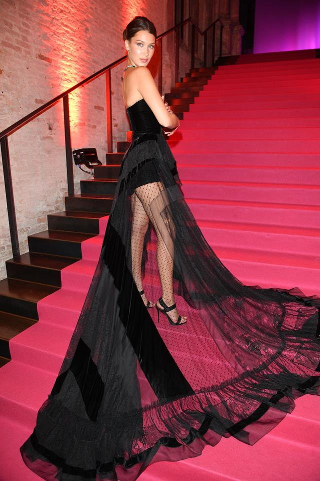 In a black velvet Alexandre Vauthier Couture gown at a Bulgari party in Venice.