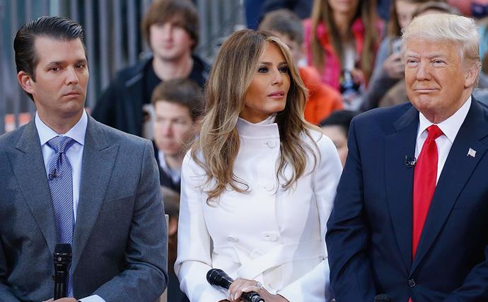 Donald Trump Jr., Melania Trump and Donald Trump
