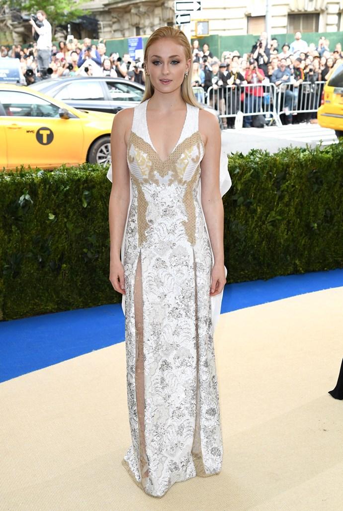 In a custom-designed dress at the 2017 Met Gala.