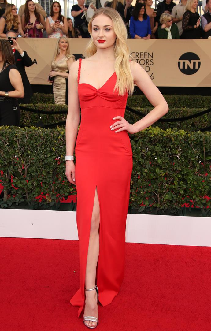 In a red Louis Vuitton gown at the 2017 SAG Awards.