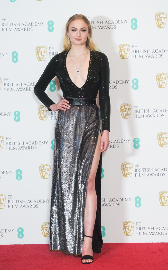 In a glittery Louis Vuitton gown at the 2017 BAFTAs.