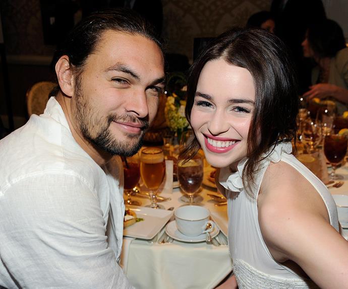 Emilia Clarke and Jason Momoa.