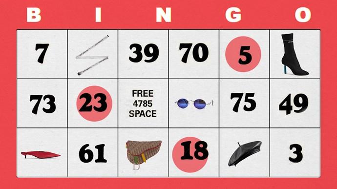 Fashion bingo.