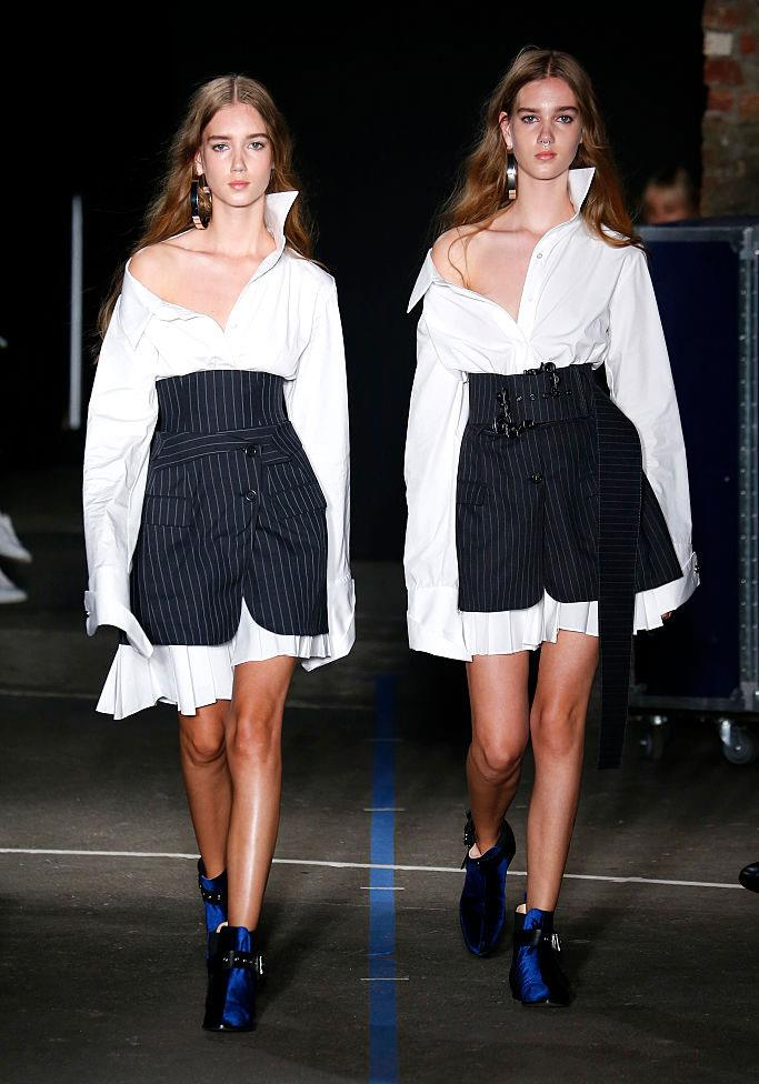 Cecilie and Amalie Moosgaard walk in the Monse Spring / Summer 2017 runway show.