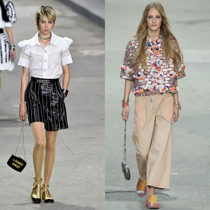 Edie and Olympia Campbell walk in the Chanel Spring / Summer 2015 runway show.