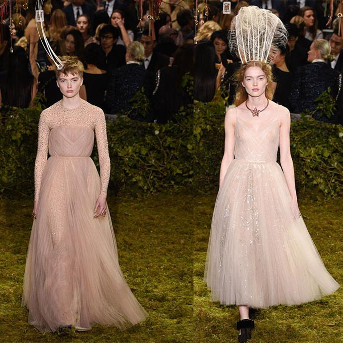 Ruth and May Bell walk in the Christian Dior Haute Couture Spring / Summer 2017 runway show.